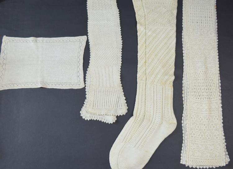 A cream knitting sampler Vienna, C 1900  a Europea