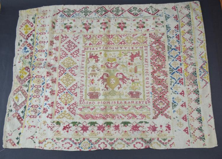 Two antique samplers, one Spanish/ Mexican dated 1