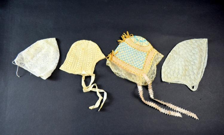 Four 19th C European babies or dolls bonnets, Aust