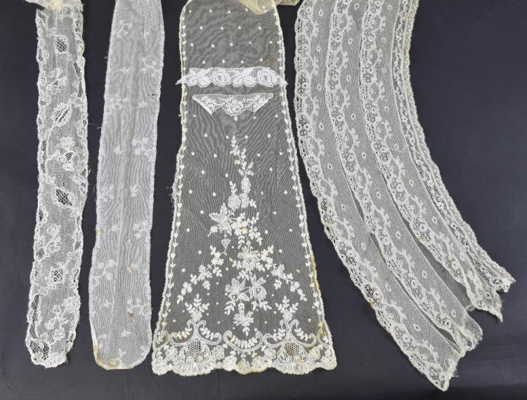 Two late 18th C lace barbes, one Mechlin another V
