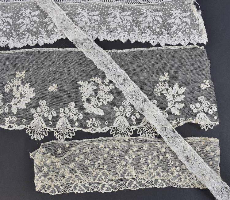 Belguim Duchess appliqué lace flounce, with design