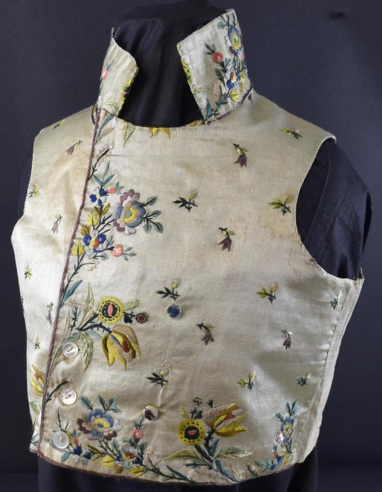Italian embroidered waistcoat, embroidered in natu