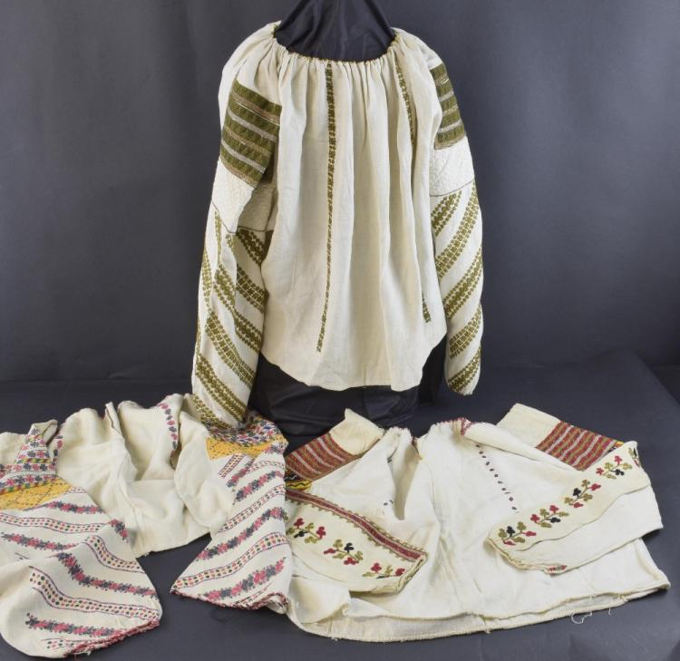 Three Romanian embroidered blouses, late 19th to e