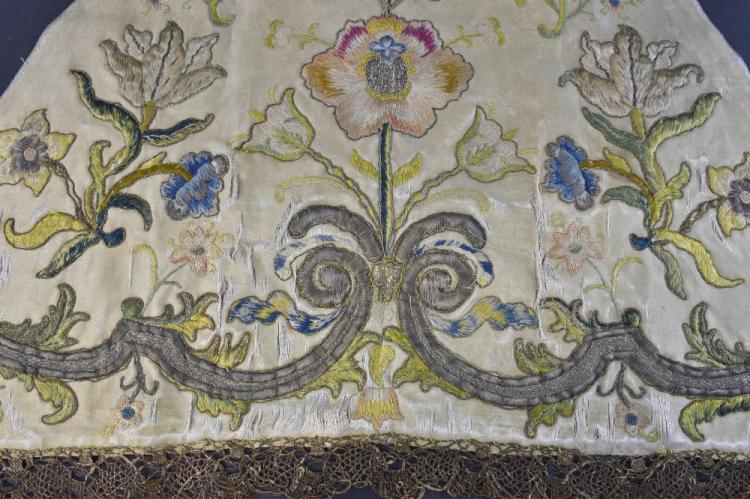 Spain 17th C embroidered panel of conjoined triang