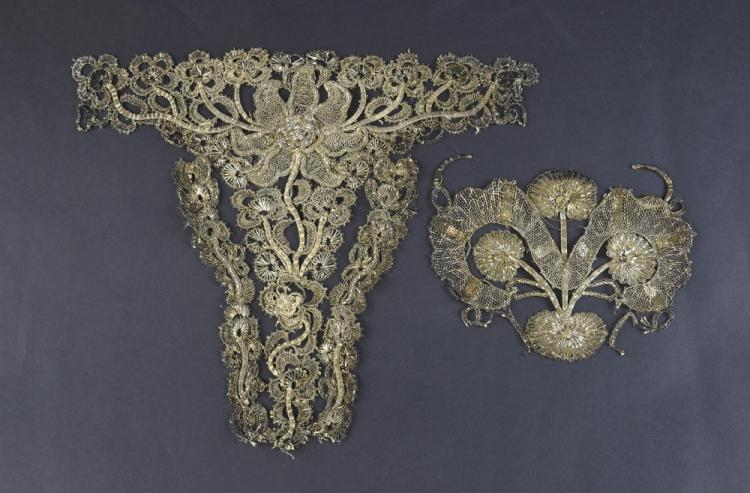 Silvered thread lace stomacher, Spain C 1750, with