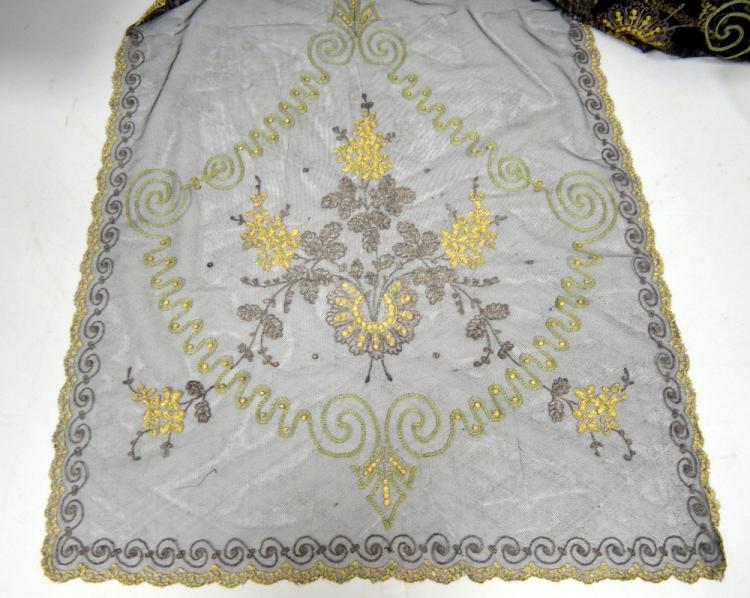 Lace stole with tambour work design of flowers in