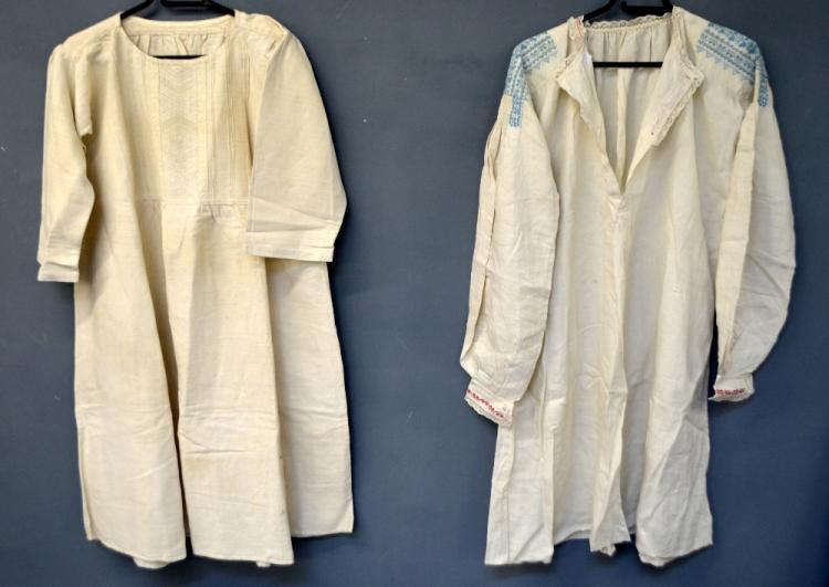 Spanish country smock of heavy linen with pin tuck