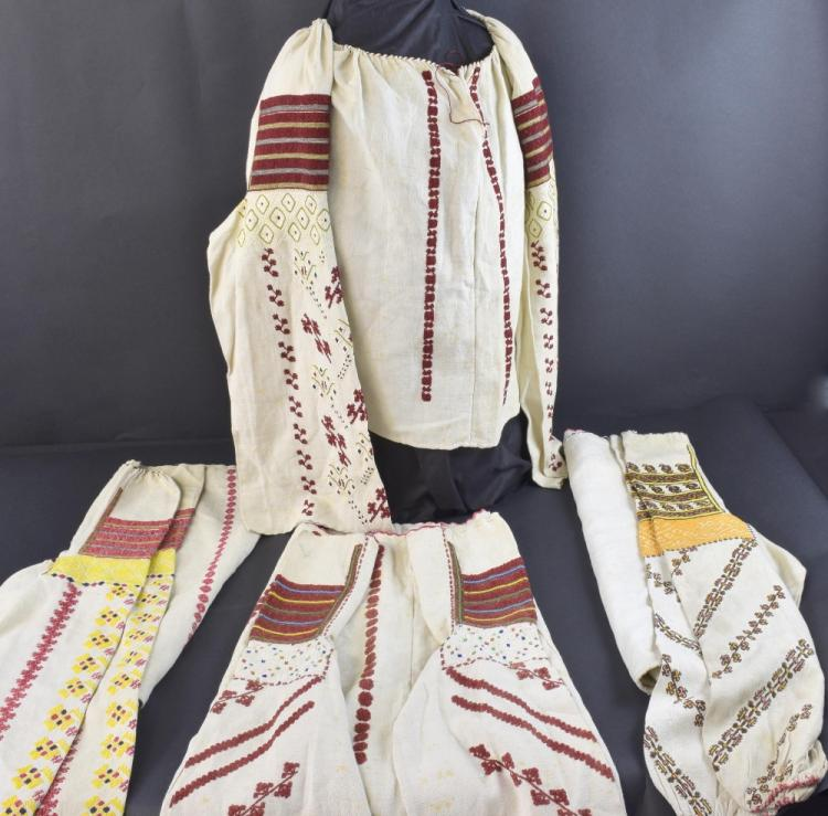 Four traditional Romanian blouses, late 19th to ea