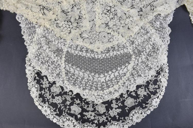 Belgium lace, mid 19th C Point Duchesse shawl, and
