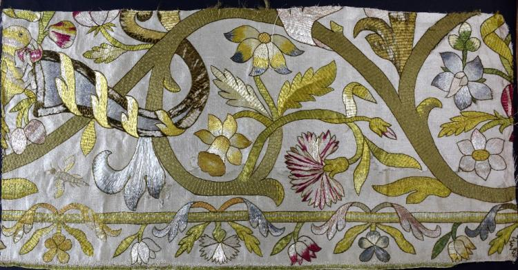 17th C Spanish square with design of flowers worke