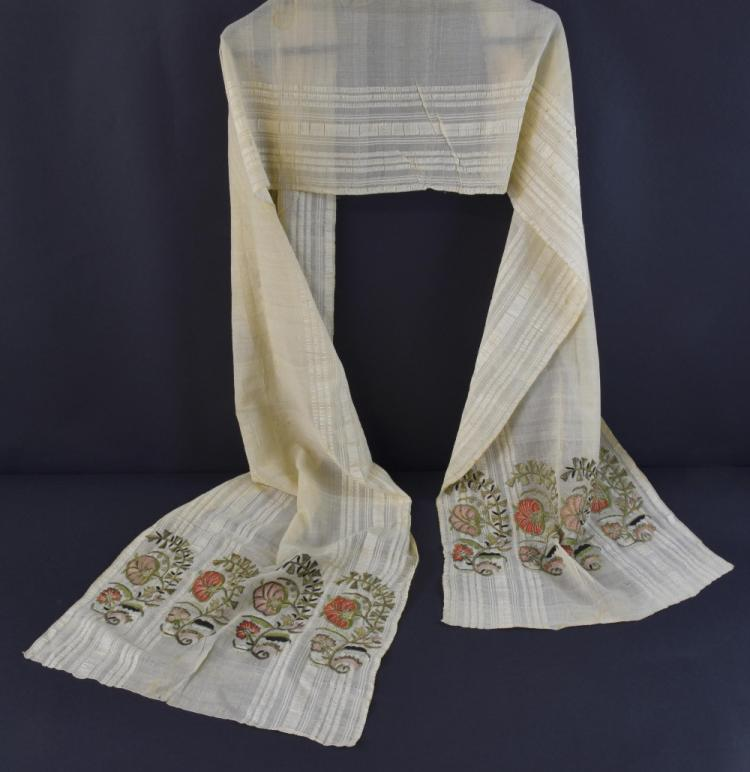 19th C Armenian embroidered towel, each end with r