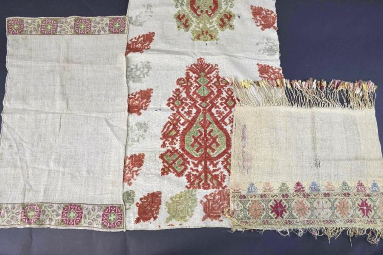 Greek late 18th C towel, muslin with embroidered e