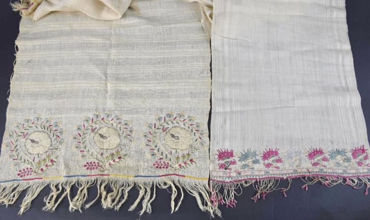 Two Greek shawls or scarves, one probably Mitylen