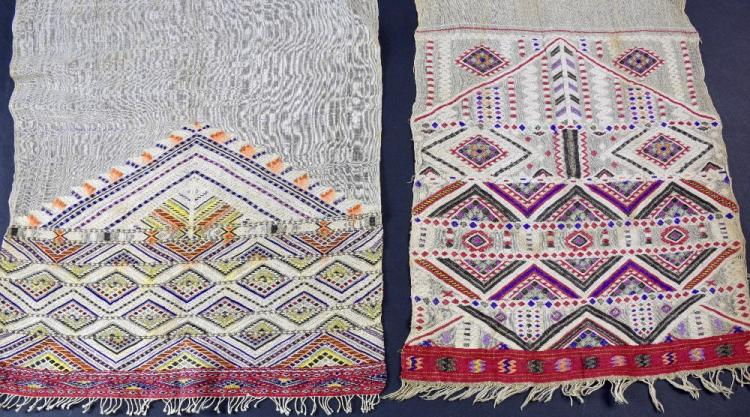 Two finely hand woven sashes, with diamond designs
