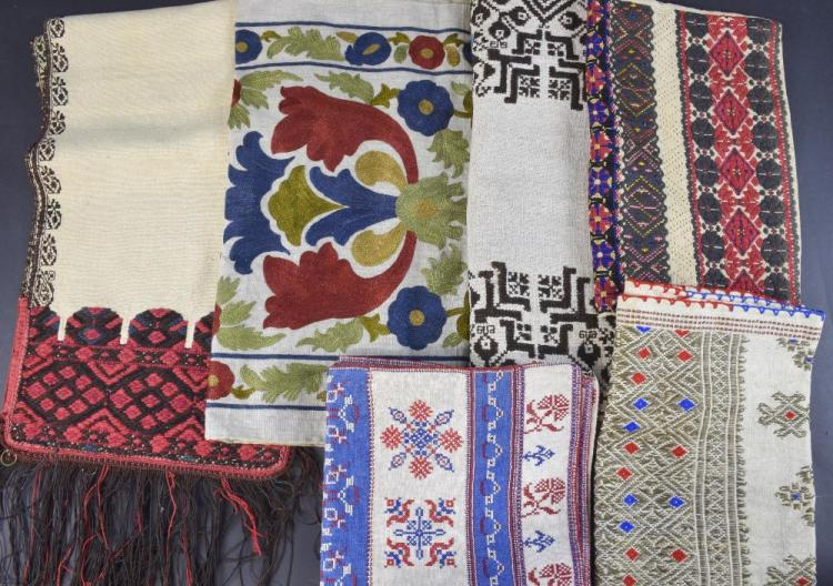 Group of embroidered textiles, traditional designs