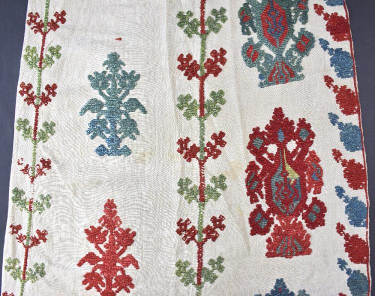 Ottoman period door curtain, Rhodes 18th C, worked