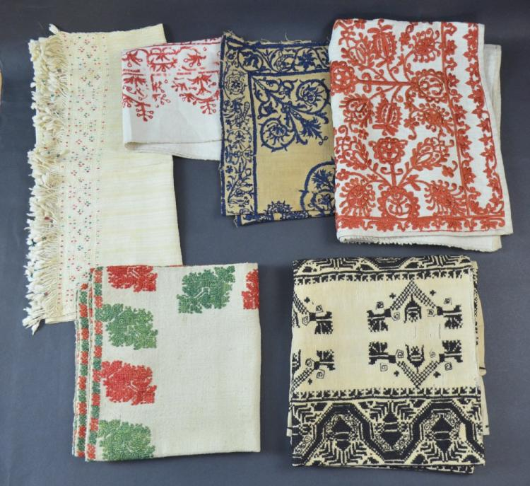 Greek embroidered covers, one linen with red and