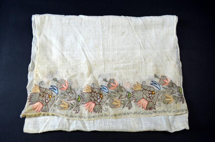 Ottoman towel, of hand woven muslin with border at