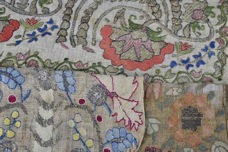 An 18th C Ottoman embroidered panel, all over deco