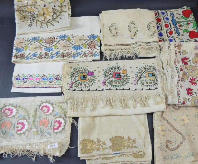 Ten Ottoman embroidered towels, all with silk and