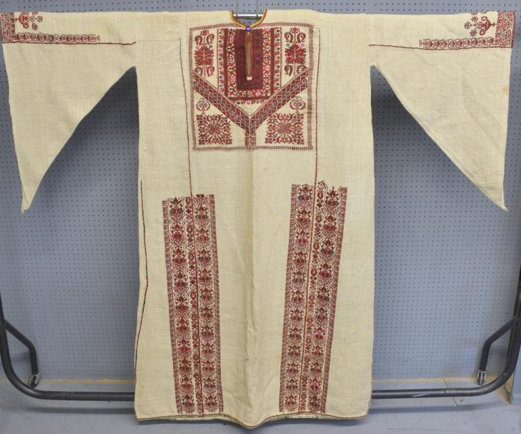 Two 19th C Palestinian male robes, one of hand wov