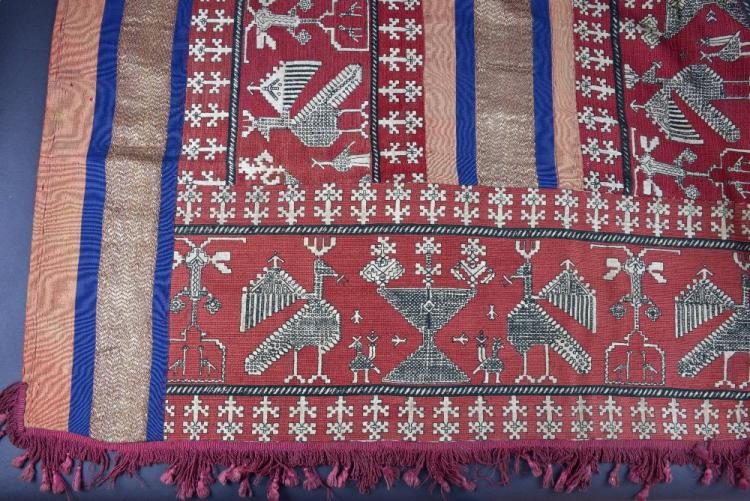 A fine Moroccan Azzemour embroidered curtain/hangi