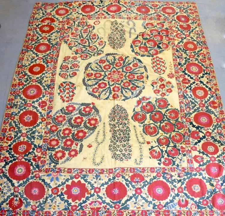 A large Suzani, Turkistan 18/ early 19th C , form