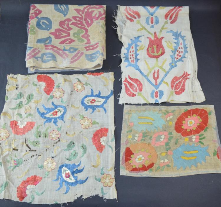 Four Ottoman embroidered fragments, one 17th C wit