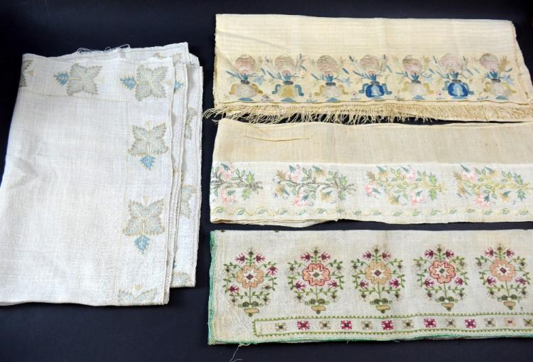 Four Ottoman embroidered textiles, scarves, towel