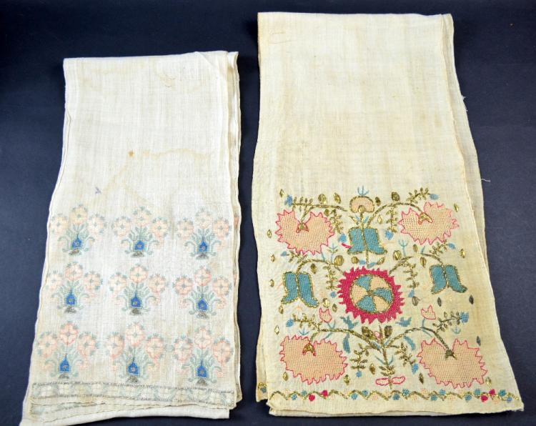 Two Ottoman embroidered sashes, both with formal d
