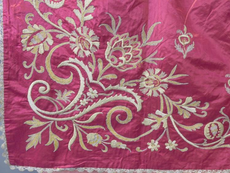 Large Ottoman silk bed cover worked with gold and