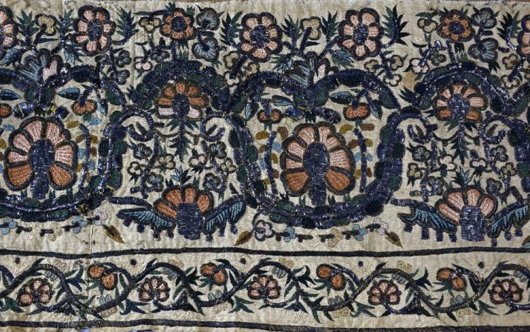A fine 18th C Ottoman valance or hanging with a co