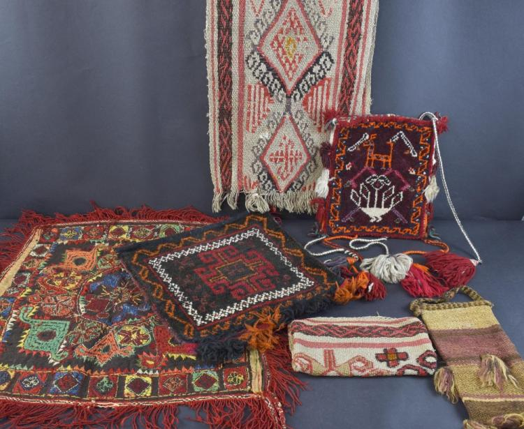 Group of textiles carpet, woven and embroidered.P