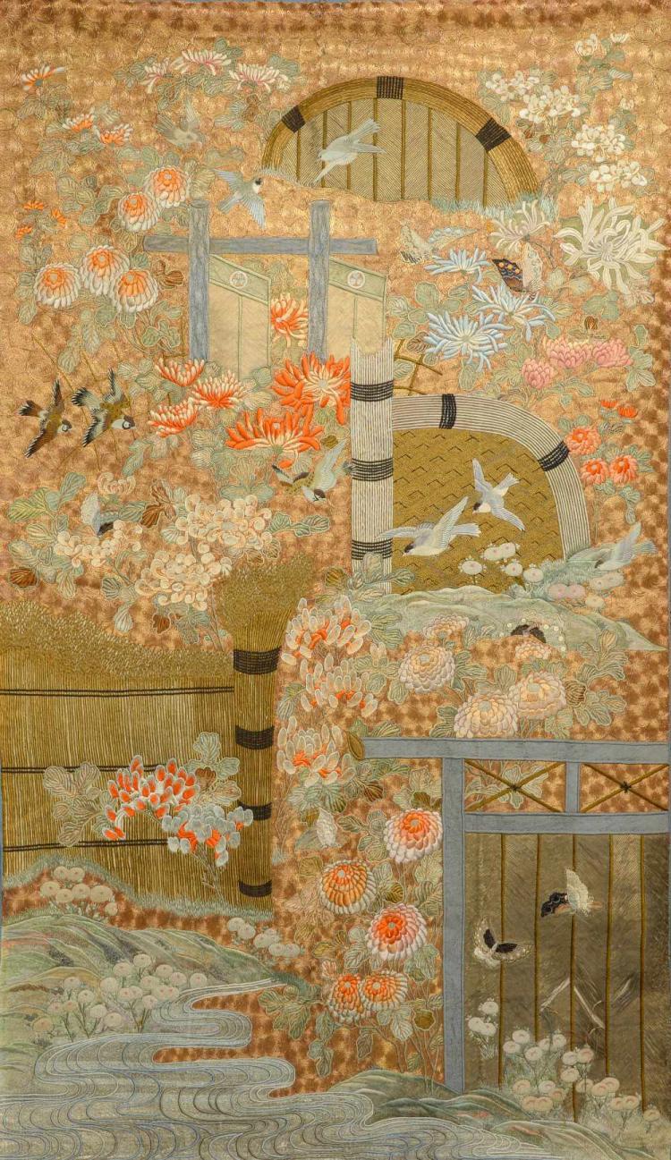 A Fine quality Japanese hanging, meiji period, ex