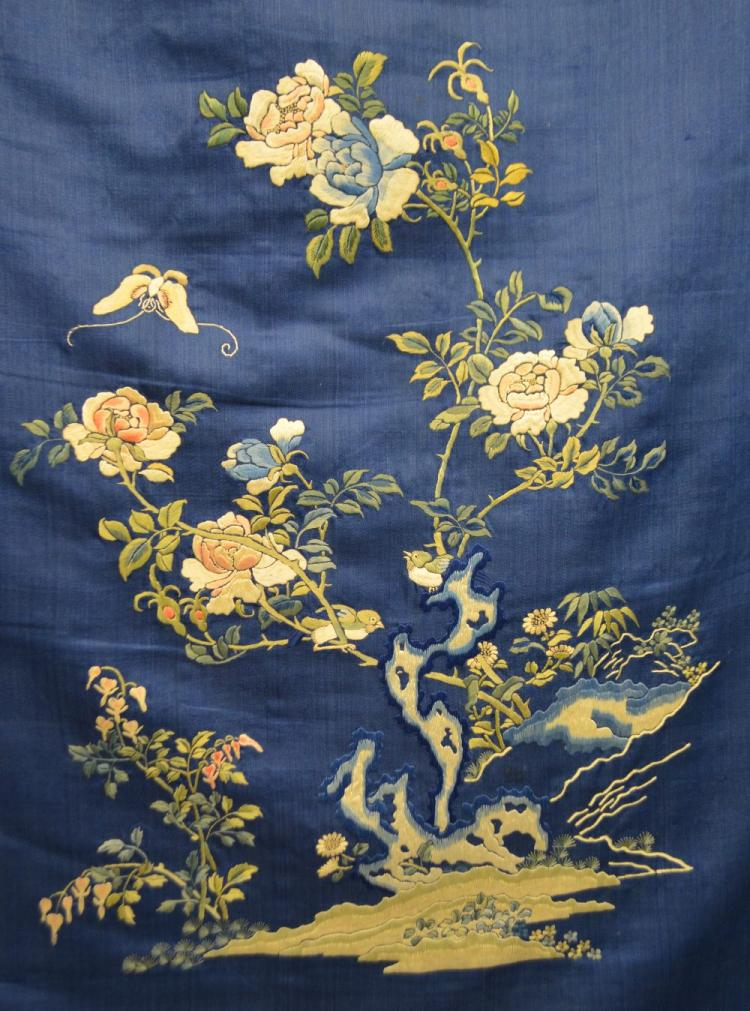 A set of four fine 19th C Japanese silk panels re