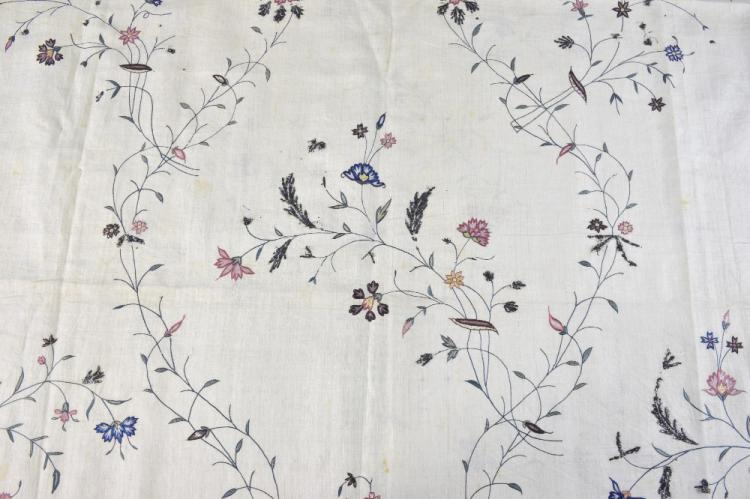Indian 18th C, embroidered fabric, possibly a dres