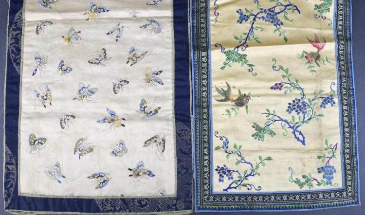 Two Chinese embroidered panels C 1900, one on crea