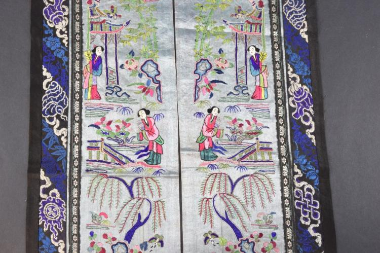 A pair Chinese, Qing sleeve panels each depictin