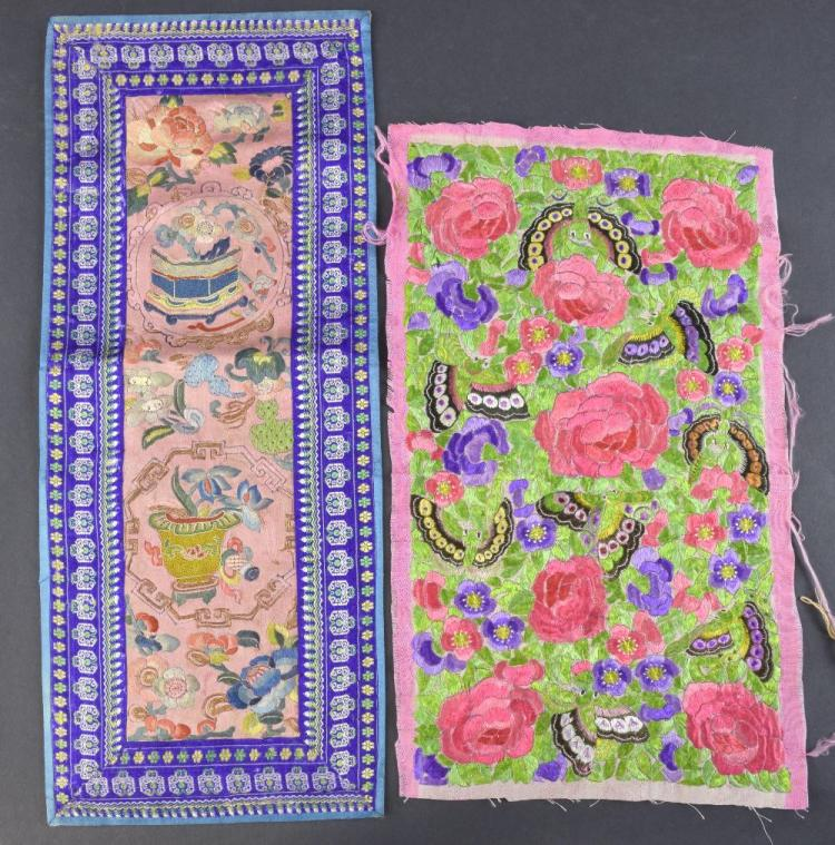Two  19th C Chinese embroidered panels, one profus