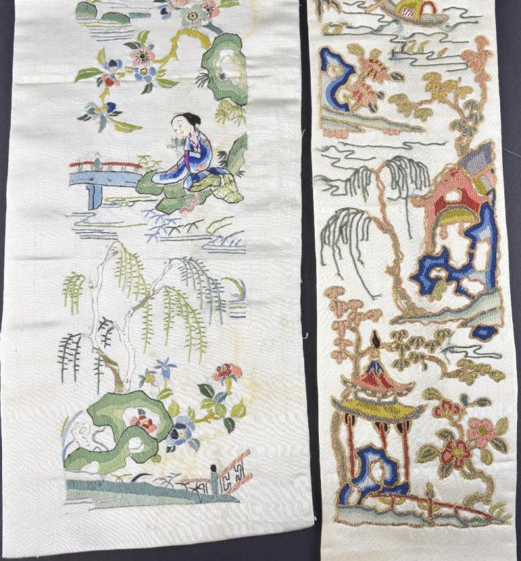 A Qing dynasty sleeve panel with scene of building