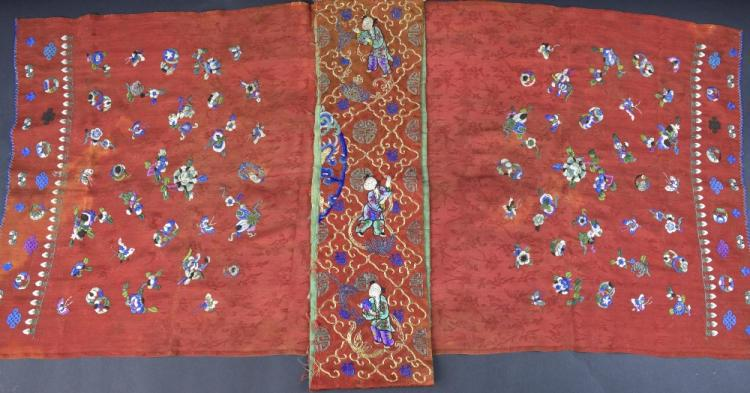 Chinese Qing dynasty silk cover embroidered with