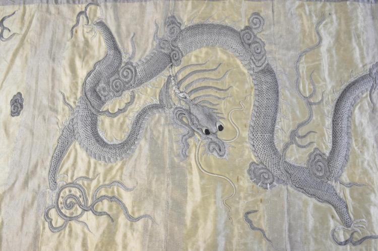 Chinese silk panel with raised work embroidery of