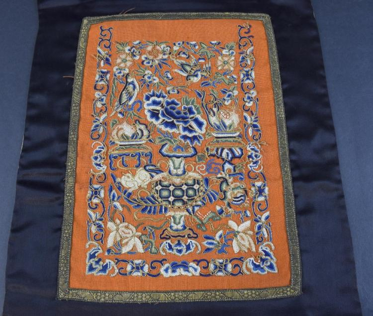 Chinese alter cover, 19th Century, of black silk w
