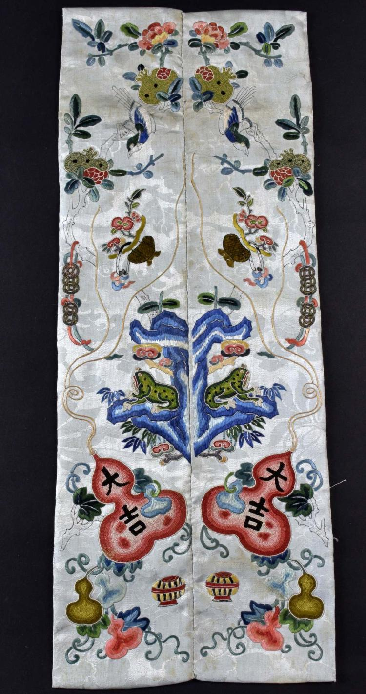A fine pair of Chinese Qing dynasty sleeve panels,
