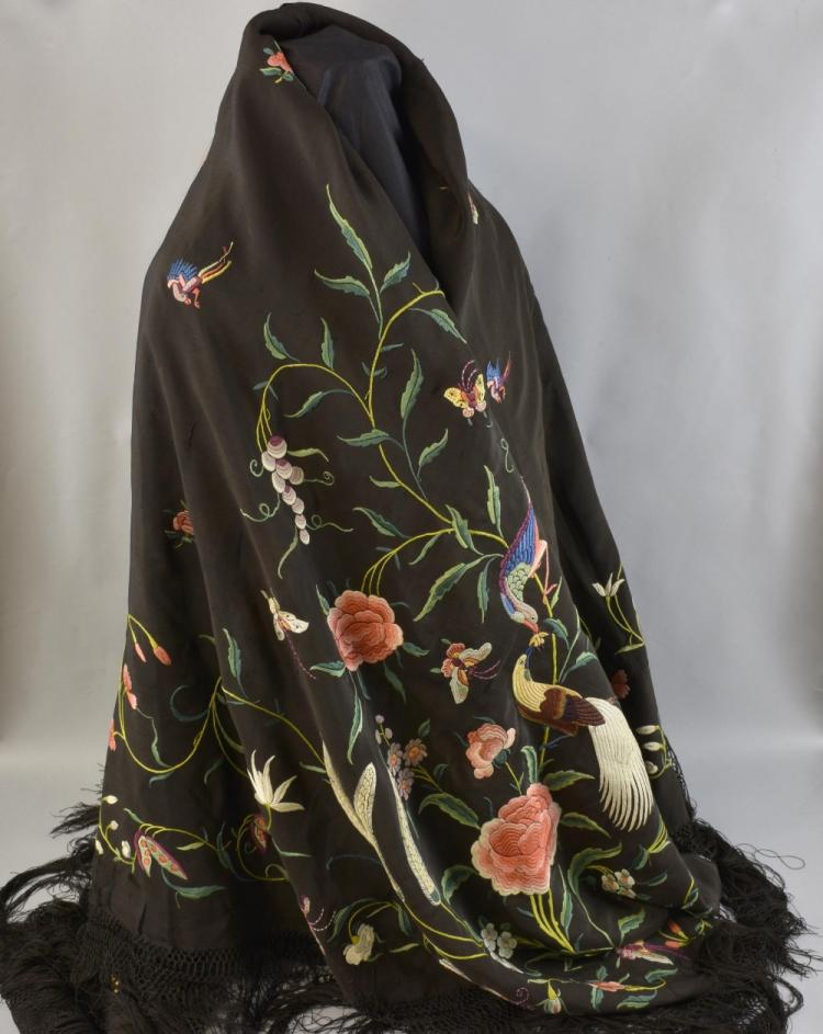 Chinese Canton black silk embroidered shawl, with