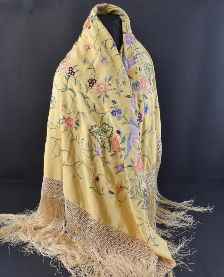 Chinese for export apricot silk shawl profusely em
