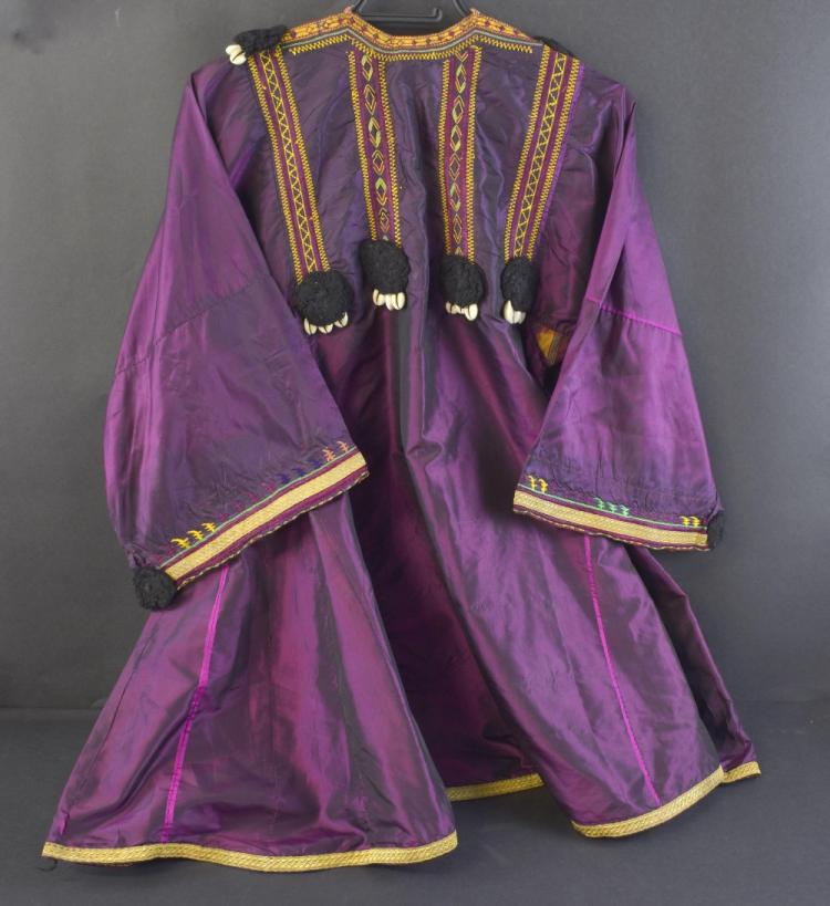 19th Indian magenta silk robe, with gold thread br