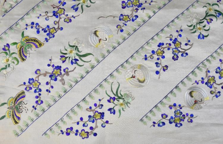 Chinese silk embroidered panel, uncut design for a