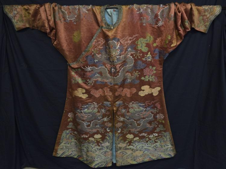 Fine Chinese 18th C Ji Fu Kesi dragon robe, in b