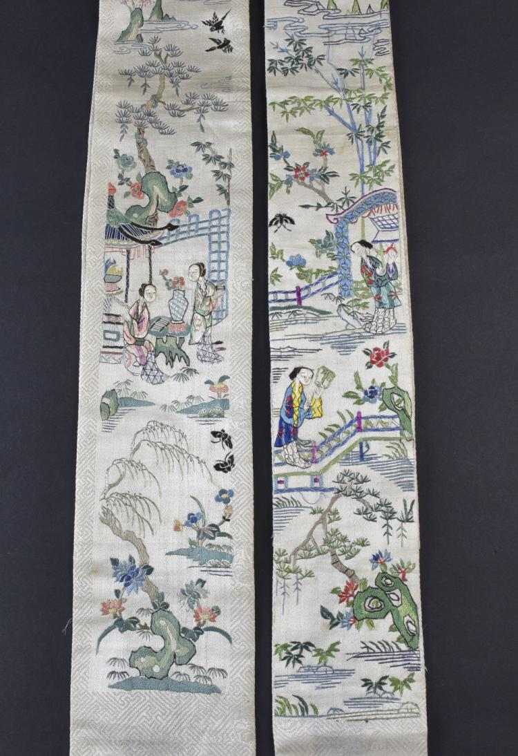 A pair of Chinese sleeve panels embroidered on cre